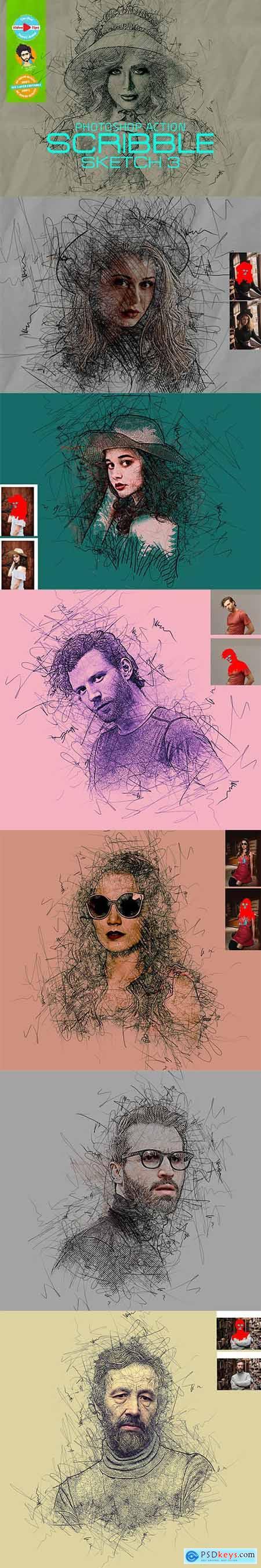 Scribble Sketch Photoshop Action 5953854