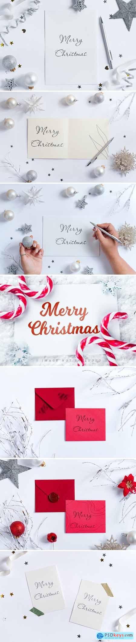 White Christmas Mockup card