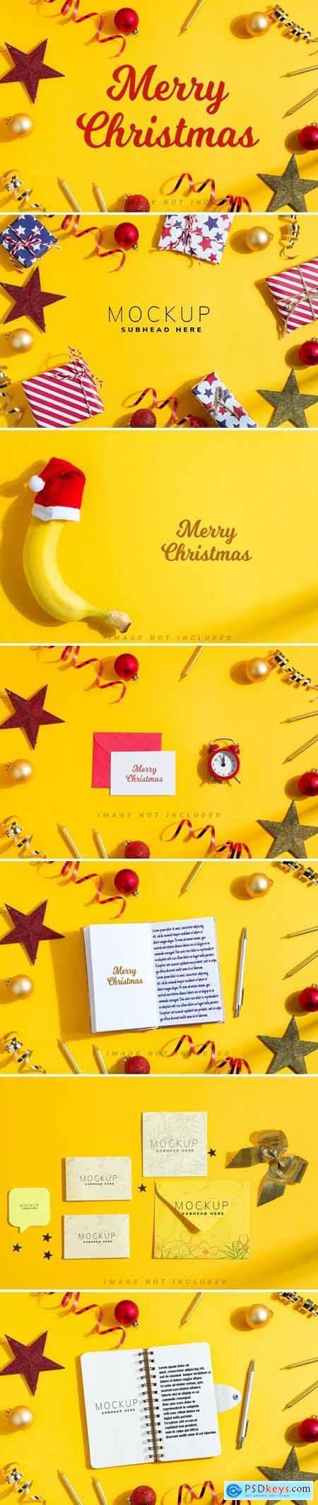 Merry Christmas yellow mockup