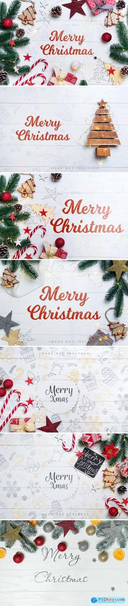 Christmas background mockup on wooden