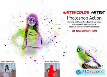 Watercolor Artist Photoshop Action 6373804