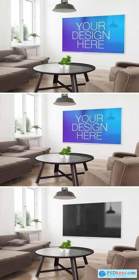 Smart TV in 3D Living Room Rendering Mockup