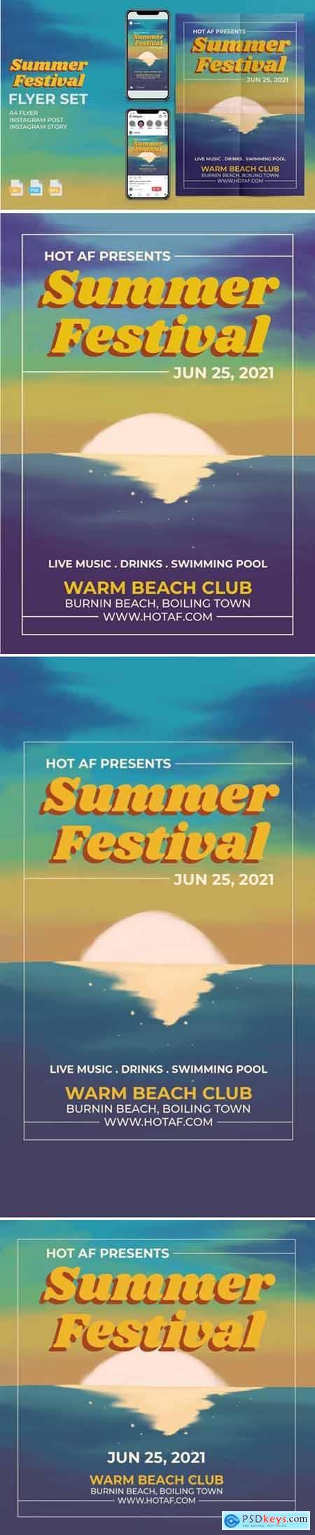 Summer Festival Flyer Set - Print and Social Media