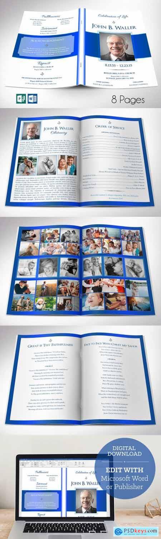 White Blue Funeral Program Word 5733403