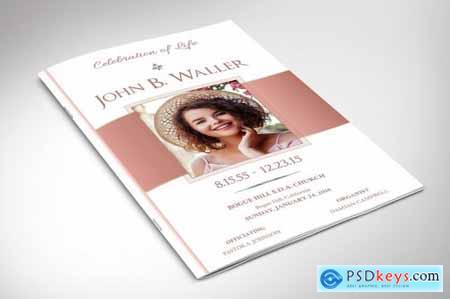 White Rose Gold Funeral Program Word 5731998