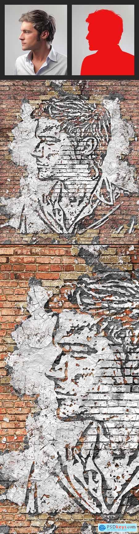 Peeling Wall Photoshop Action 23640649