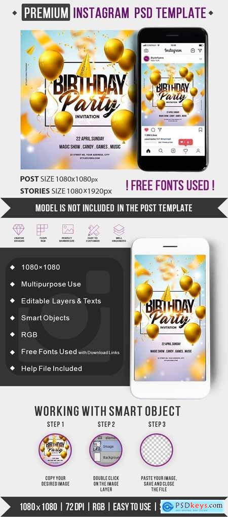 Birthday Party Invitation PSD Instagram Post and Story Template