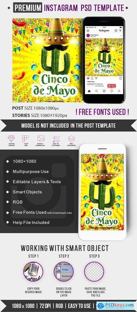 Cinco De Mayo PSD Instagram Post and Story Template