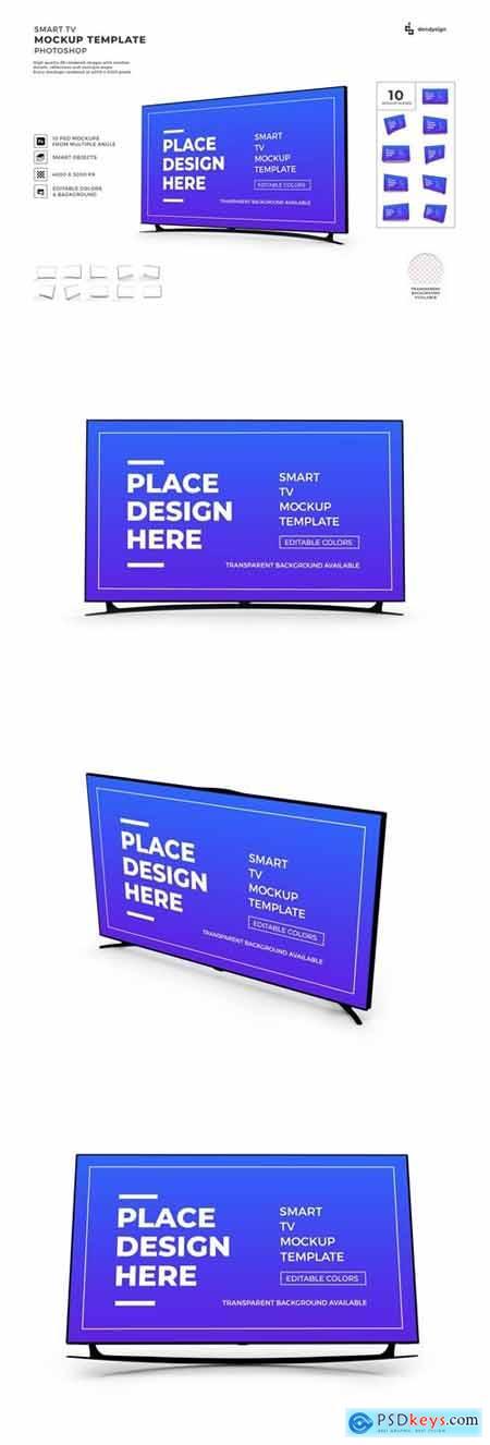 Smart TV Display Mockup Template Set
