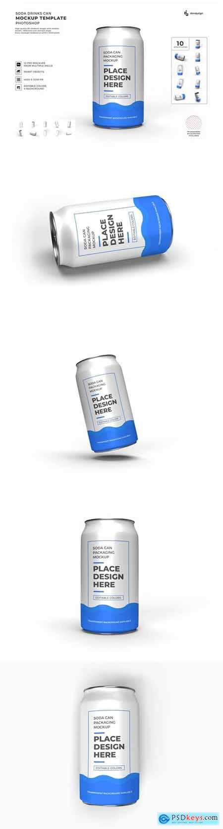 Soda Drink Can Packaging Mockup Template Set