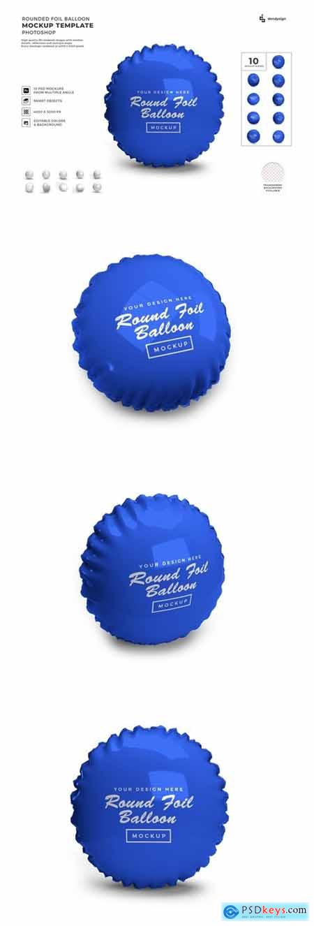 Rounded Foil Balloon Mockup Template Set