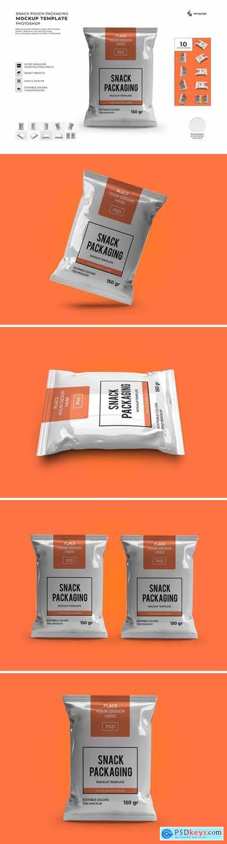 Snack Pouch Packaging Mockup Template Set