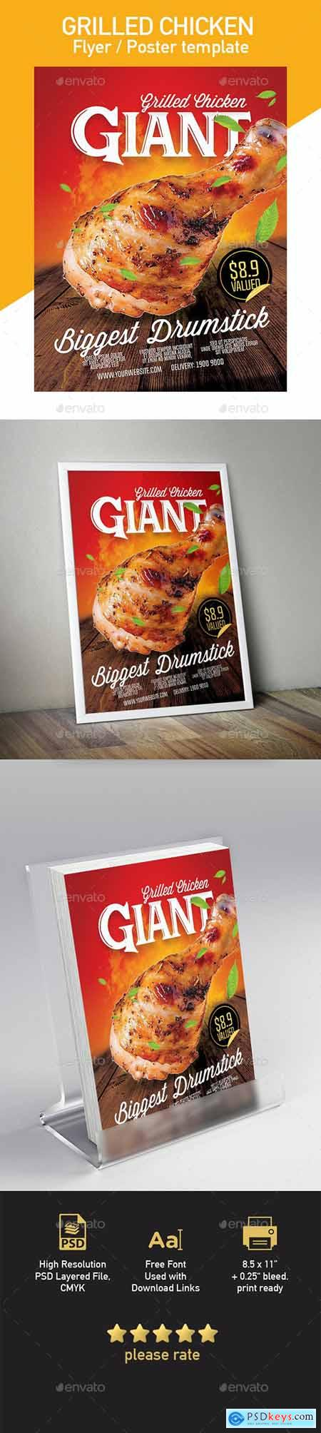 Grilled Chicken Template for Flyer Poster 20413936