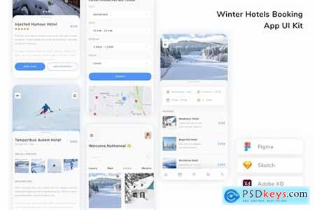 Winter Hotels Booking App UI Kit