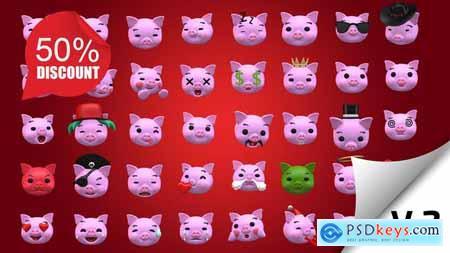 Emoji v2 - Pig Animation Kit 23234022