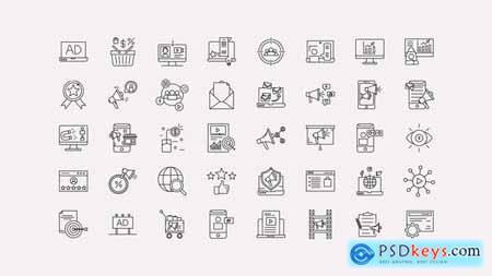 Digital Marketing Line Icons 33956167