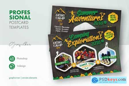 Camping Adventure Postcard Templates QEAF6YU
