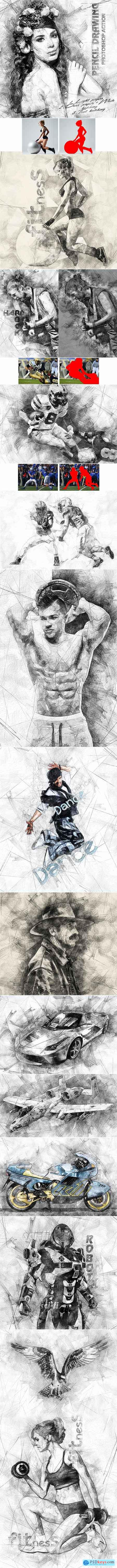 Pencil Drawing Photoshop Action 19737502