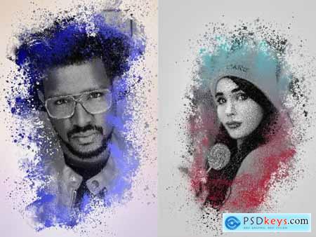 Colored Splash Photoshop Action 6218972