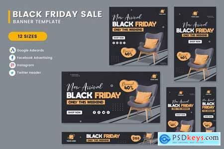 Black Friday Sale Interior Chair Banner Template