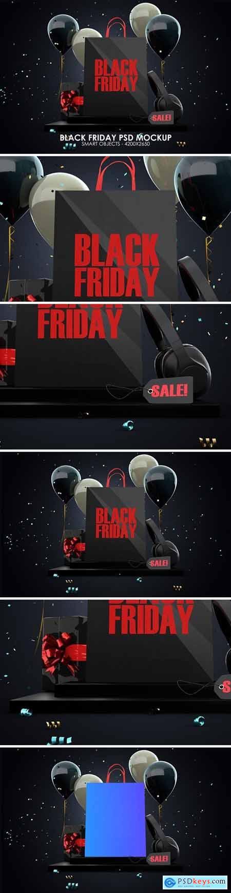Shopping Bag Black Friday PSD Mockup