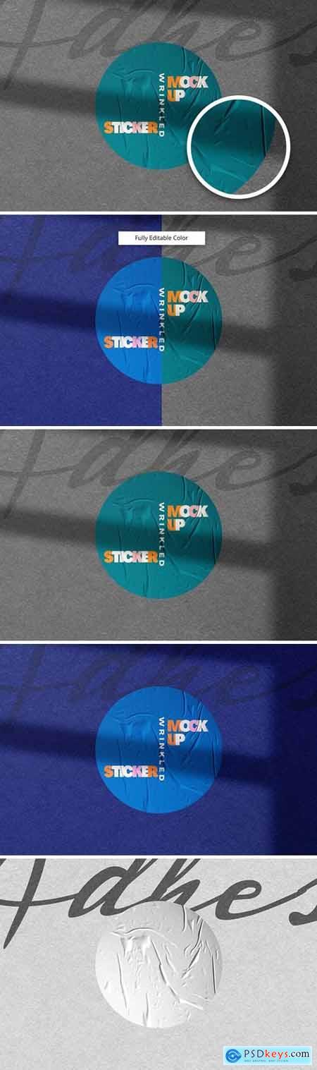 Wrinkled Sticker Mockup