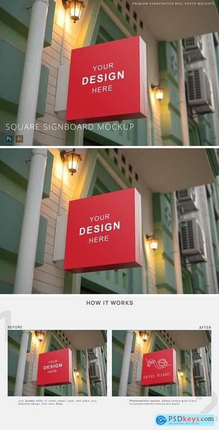 Square Street Signboard Mockup at Evening