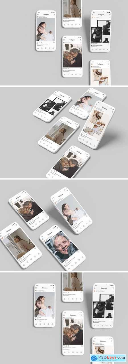 White - Clay Phone Mockup + InstaStory UI