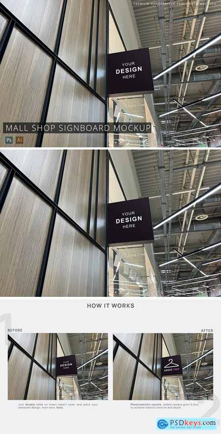 Square Signboard Mall Shop Mockup