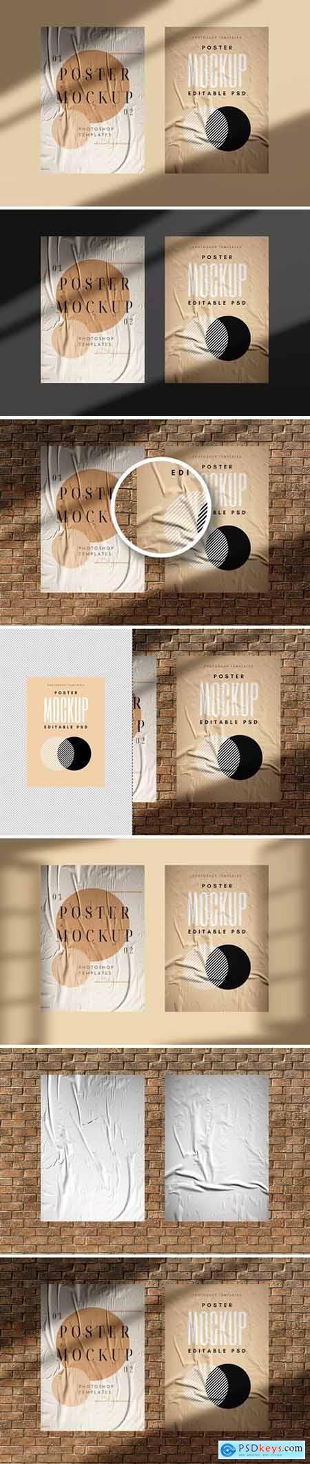 Wall Brick Poster Mockup