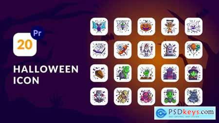 Halloween Animation Icons Premiere Pro MOGRT 34127068