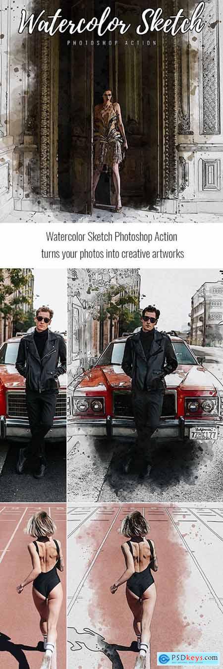 Watercolor Sketch Photoshop Action 33365580