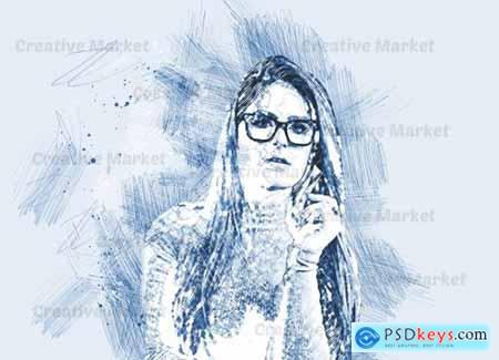 Stylish Sketch Art PS Action 6561769