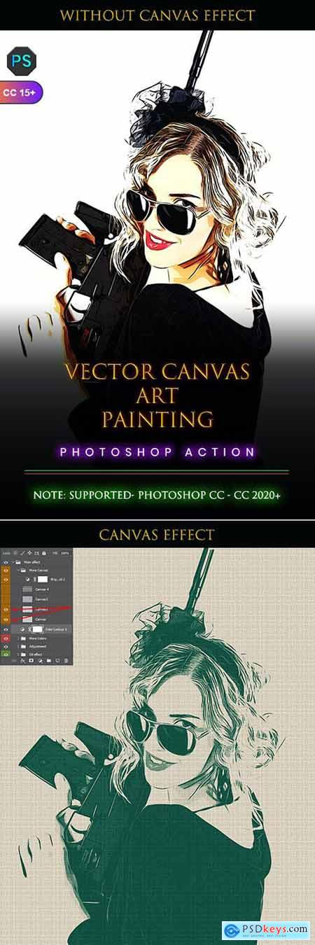 Vector Canvas Art Painting Photoshop Action 33762445