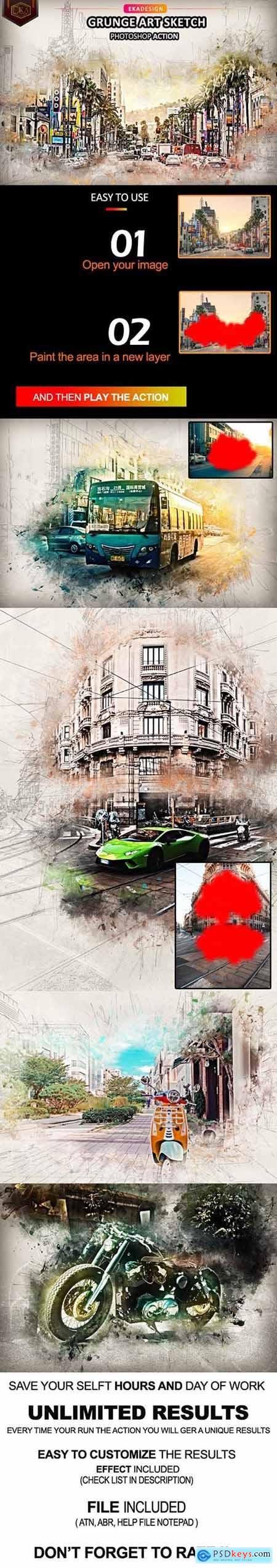 Grunge Art Sketch Photosop Action 32980106