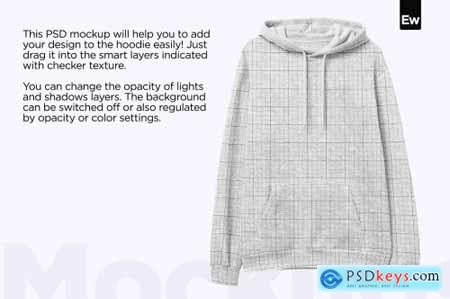Heather Hoodie Front View PSD Mockup 6160806