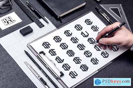 D (A-Z) Hexagon Monogram Logo Creator YX9NUSA
