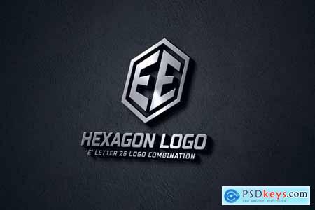 E (A-Z) Hexagon Monogram Logo Creator JWSALKK