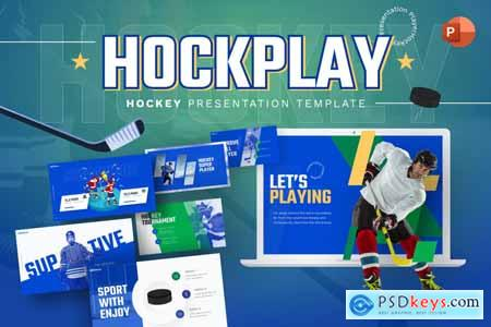 Hockplay Hockey Creative PowerPoint Template 7RGMVYA